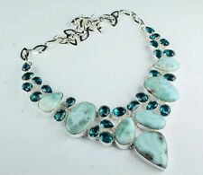 "925 Sterling Silver Overlay Carribean Larimar Blue Topaz Necklace 18""  Jewelry"