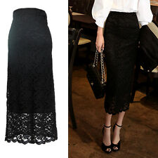Lady Lace Skirt Winter High Waist Hollow Bodycon Hollow Midi Pencil Dress Retro