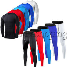 Mens Under Compression Tight Skins Base Layer Top Shirt Pants Fitness Sportswear