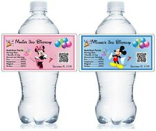 20 PERSONALIZED MICKEY MINNIE BIRTHDAY FAVORS WATER BOTTLE LABELS waterproof ink