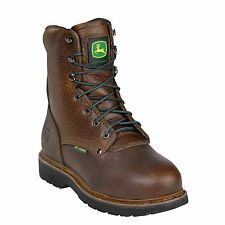 John Deere Mens Brown Leather 8in Pot Room Steel Toe Lace-Up Work Boots