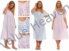 Ladies Floral Nightie Nightdress Large Plus Buttoned White Blue Pink S - 4XL