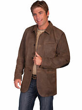 Scully Leather Mens Button Front Blazer Jacket Brown
