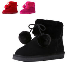VFN Women's Lady Warm Pom Pom Fully Fur Lined Waterproof Winter Snow Boots