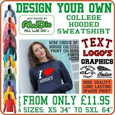 Design and Customise Your Own Unisex Custom Hooded Sweatshirt Sizes Small to 5XL