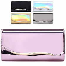 Ladies Designer Metallic Envelope Style Diamante Clutch Evening Handbag M07372