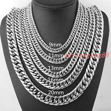 """7""""-40"""" 9/11/13/16/20mm Heavy Cool Stainless Steel Curb Cuban Link Chain Necklace"""