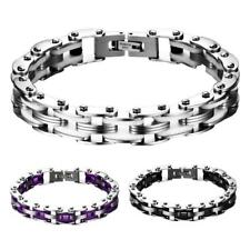 Mens Fashion Stainless Steel Bicycle Chain Hand Chain Charm Bangle Bracelet