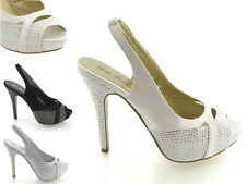 LADIES DIAMANTE SANDALS WOMENS DRESSY EVENING PROM HEELS WEDDING BRIDAL SHOES
