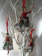 Gisela Graham Christmas Rose Resin/Fabric Fairy Decoration