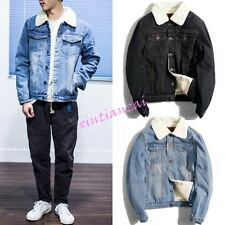 Mens Women Denim Retro Cowboy Fur lined Jeans Coat Jacket Casual Korean S-2XL