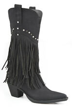 Roper Womens Black Distressed Faux Leather 12in Fringe Design Western Boots