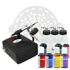 OPHIR Airbrush Cake Decorating Kit & Air Compressor & 8 Color Food Coloring Set