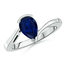 Pear Shape Natural Blue Sapphire Solitaire Ring 14k White, Yellow Gold Size 3-13