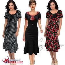 Women Vintage Retro Evening Party Polka Cocktail Evening 1940s 50s Swing Dress