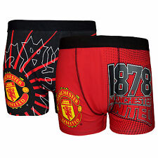 Manchester United Football Club Official Gift 2 PAIR Pk Mens Crest Boxer Shorts