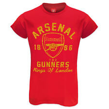 Arsenal FC Official Football Ladies Glitter Print T-Shirt Soccer Gift