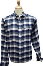 Bar Harbour Navy Brushed Cotton Check Shirt BX0058 in Sizes 2XL, 3XL, 4XL and 5X