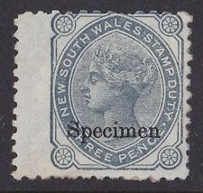 New South Wales Stamp Duty : 1880 QV 3d Revenue SPECIMEN EXTREMELY RARE!
