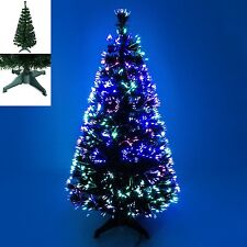 3ft/4ft/5ft/ Green Fibre Optic Christmas Tree with Multicoloured Lights 90/150CM