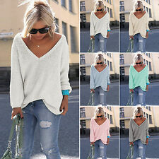 Women Long Sleeve Knit Top V Neck Baggy Sweater Casual Pullover Jumpers Knitwear