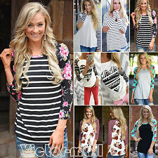 Womens Long Sleeve Shirt Casual Floral Striped Blouse Loose Cotton Tops T-shirts