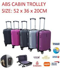 HARD SHELL ABS 4 WHEEL SPINNER HAND CABIN TROLLEY BAG CASE LUGGAGE TRAVEL 52CM
