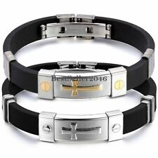 Stainless Steel Cross ID Black Rubber Mens Boys Bracelet Cuff Bangle Wristband