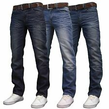 Crosshatch FARROW Mens Branded Regular Fit Straight Leg Denim Jeans, BNWT