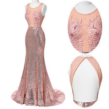 New Formal Long Evening Gown Party Prom Bridesmaid Dress Pink Mermaid Ball Gown