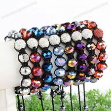 Crystal Glass Disco Ball Bead Macrame Braided Woven Women Bracelet Adjustable