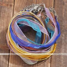 2pc Organza Voile Ribbon Cord Lobster Clasp Silk Link Chain Choker Necklace Gift