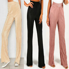 New Pleated High Waisted Wide Leg Palazzo Pants  Crinkle Trousers Size 6-14
