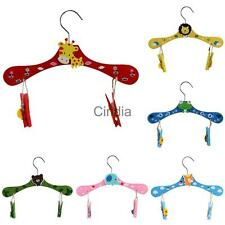 Cartoon Wooden Hanger Home Accessories Wooden Clothes Hanger with Clips