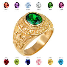 Solid 10k Yellow Gold US Army Men's CZ Birthstone Ring