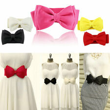 Lady Sweet Bowknot Elastic Bow Wide Stretch Buckle Waistband Waist Belt