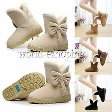 US5-9 Womens Faux Suede Fur Winter Warm Martin Snow Boots Flats Ankle Boot Shoes