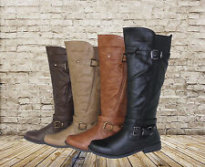 New Womens Fashion Knee High Riding Flat Heel Boots Faux Leather Free Shipping