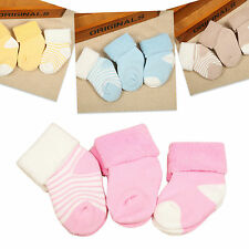 Cute Baby Newborn Infant Toddler Boy Girl Cotton Socks For 0-36 Months 3 Pairs