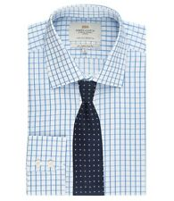 Mens Grid Check Slim Fit Single Cuff Button Collared Formal Stylish Shirt Top