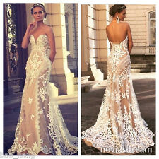 Unique Sweetheart Bridal Gowns Lace Applique Sleeveless Wedding Dress Gown White