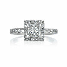 Halo Engagement Ring Size 6 Certified Diamond 1.1 CT 14K White Gold Enhanced