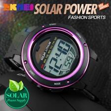 SKMEI Solar Powered Digital Sports LED Watch Chronograph Alarm Backlight US W5J7