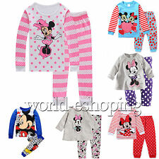 Baby Kids Boys Girls Cartoon Minnie Mickey Sleepwear Nightwear Pajamas 2Pcs Set