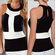 Women Casual Black White Splicing Sleeveless Crewneck Tee Vest Camisole Tank Top