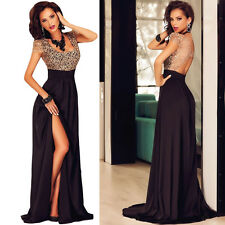 NEW GOLD LACE OVERLAY SLIT MAXI FORMAL PROM BALL PARTY EVENING DRESS SIZE 12-14