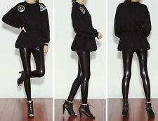 Sexy Women's Low Waist Shiny Stretch Wet Look Faux Leather Leggings Pants