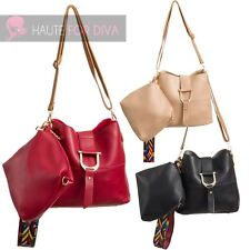 LADIES NEW TWO BAGS SET BUCKLE DETAIL FAUX LEATHER TRIBAL STRAP SHOULDER BAG