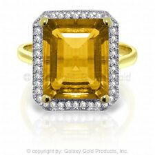 Genuine Citrine Emerald Cut Gemstone & Diamonds Halo Design Ring 14K. Solid Gold
