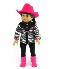 """Doll Clothes AG 18"""" Western Pants Shirt Hat Boots Hot Pink Fits American Girls"""
